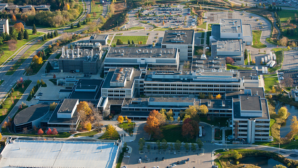 Aerial shot of the North Campus Research Complex