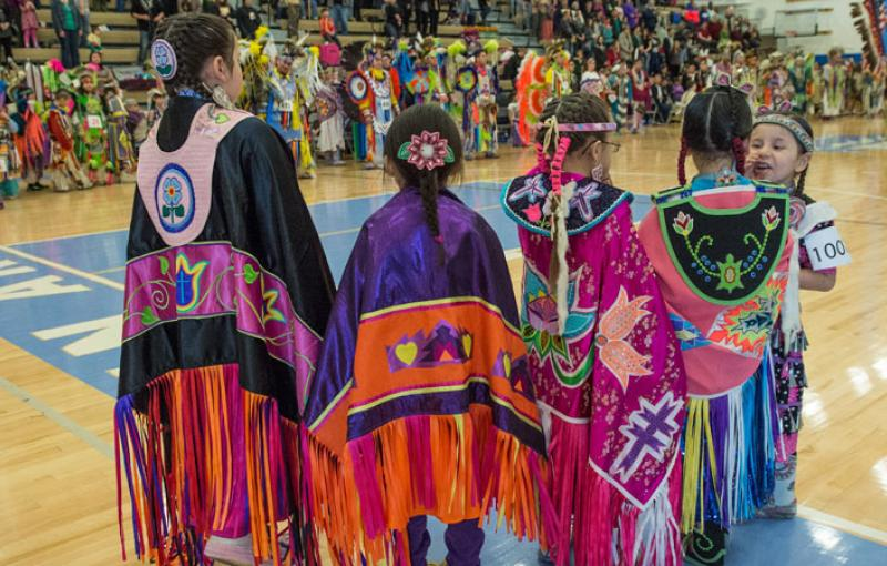 Girls in powwow regalia