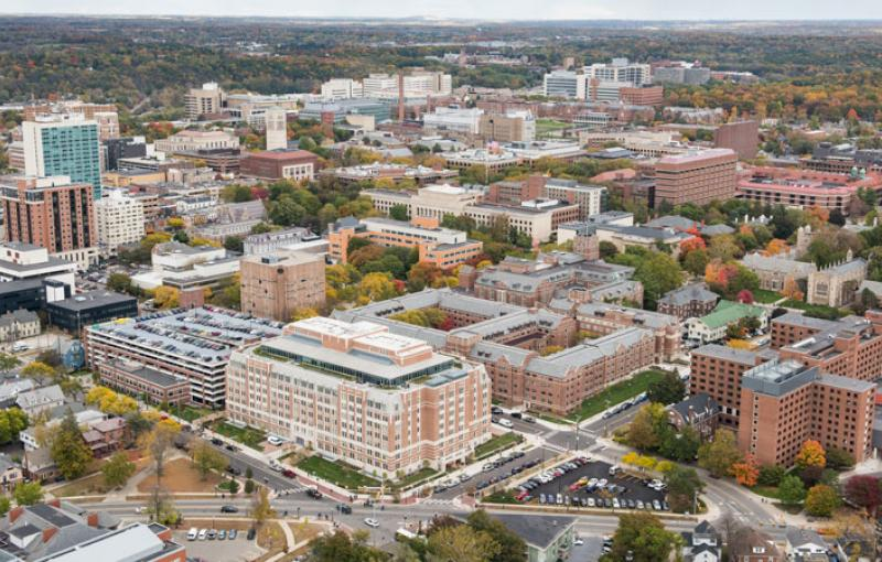 An aerial view of the edge of main campus and downtown Ann Arbor