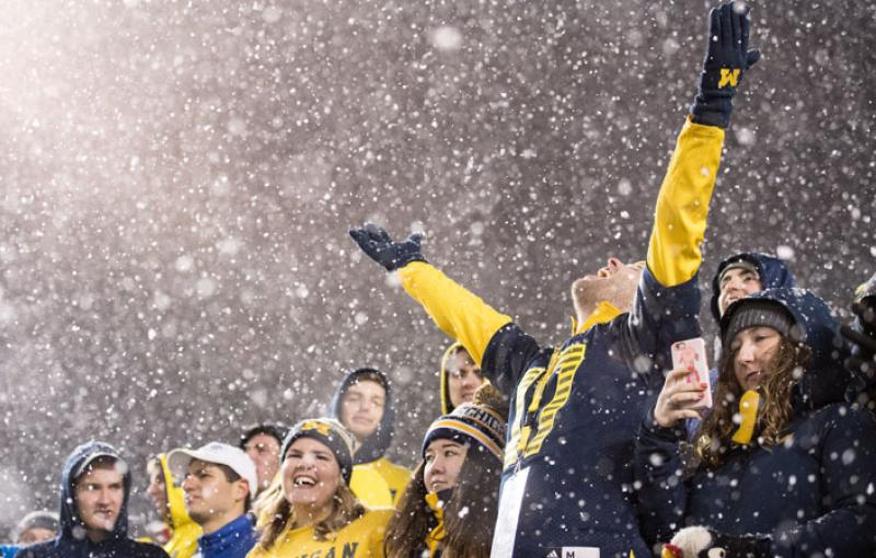 Michigan football fans rejoice in the rain