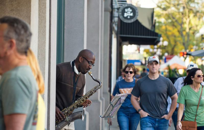 A saxophone player in downtown Ann Arbor