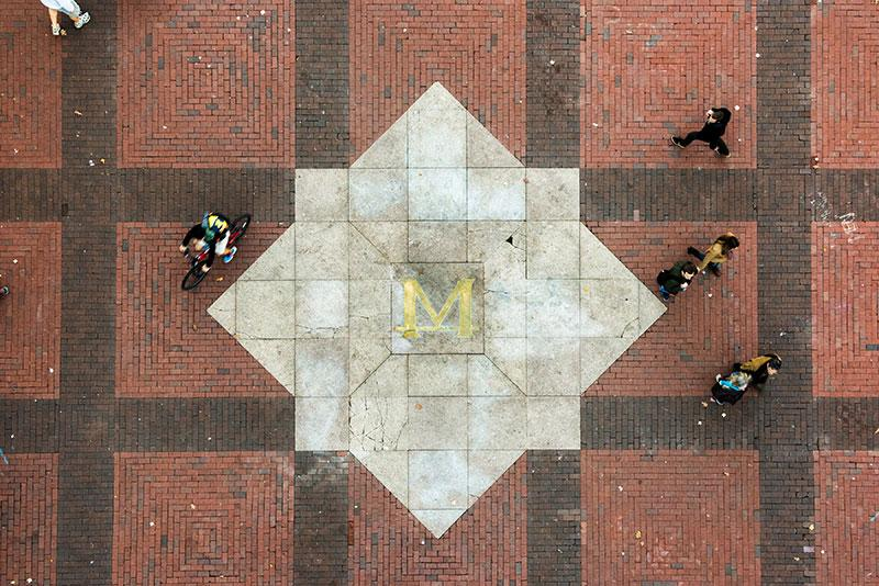 An aerial view of the block-M on the Diag