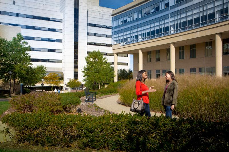 Students chat in front of the Frankel Cardiovascular Center